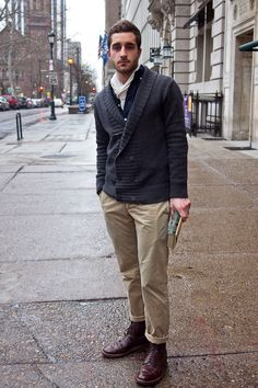 navy double-breasted cardigan over navy henley