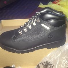 Black timberland field boots Brand new in box black timberland field boot. Juniors size 6(womens 8) Timberland Shoes