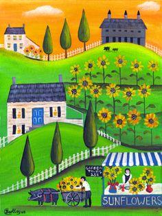 Sunflower Gardens & Pot Belly Pig with Wagon Folk Art Print 12x16