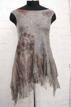 Купить Валяный топ Каменный цветок - серый, авторская ручная работа, одежда из войлока, нуновойлок