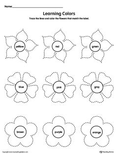Practice learning basic color names along with tracing curved lines in this downloadable worksheet.