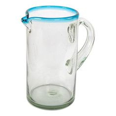 Glass pitcher, 'Aqua' - Artisan Crafted Handblown Glass Recycled Pitcher Mexico