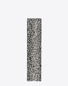 Saint Laurent Signature Pleated Scarf In Black And White Babycat Printed Wool And Silk CRÊPE | ysl.com