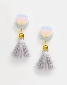 Image 1 ofSuzywan DELUXE Glitter Moon Short Tassel Earrings