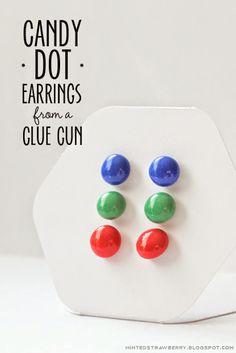 make these cute candy dot earrings using your glue gun!