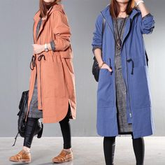 Original Autumn Hooded Drawstring Waist Relaxed Casual Trench Coat... (825 HRK) ❤ liked on Polyvore featuring outerwear, coats, blue, women's clothing, trench coat, long trench coat, cotton coat, cotton trench coat and long hooded coat
