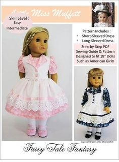 Pixie Faire Little Miss Muffett Fairy Tale Fantasy Dress Doll Clothes Pattern Designed to Fit Dolls such as American Girl® - PDF Pixie Faire Little Miss Muffett Fairy Tale Fantasy Doll Clothes Pattern for 18 inch American Girl Dolls - PDF American Girl Outfits, American Doll Clothes, Girl Doll Clothes, Girl Dolls, American Girls, Baby Dolls, Doll Dress Patterns, Clothing Patterns, Thing 1