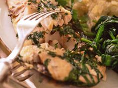 Herbed Striped Bass: Use soft, leafy herbs on the bass; they form a pleasantly crisp coat when seared. Healthy Junk, Heart Healthy Recipes, Healthy Eating, Fish Dishes, Main Dishes, Shrimp Dishes, Striped Bass Recipe, Grilled Fish Recipes, Dessert For Dinner