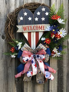 4th July Crafts, Fourth Of July Decor, 4th Of July Decorations, 4th Of July Wreath, July 4th, Patriotic Bunting, Patriotic Crafts, Patriotic Wreath, Air Force Ribbons