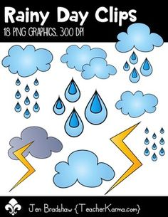 Rainy Day Clips Clipart!  You will LOVE these ** 18 ** rain graphics that are so much FUN! They are absolutely perfect for adding to parent newsletters, literacy and writing stations, activities, printables and student worksheets, class invitations, etc.