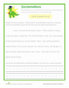 Second Grade Punctuation Worksheets: End Punctuation: Exclamations