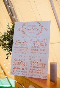 Appleberry - Cindy & Ronan's Big-Day in Bantry Bay - quirky signage for a festival setting Wedding Signage, Wedding Reception, Our Wedding, Fall Wedding, Unique Wedding Invitations, Wedding Stationery, Signature Cocktail, Cocktail Menu, Wedding Planner Italy