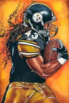 Troy Polamalu Steelers - pen watercolor and acrylic by Bob Weaver. Pittsburgh Steelers Players, Nfl Football Players, Pittsburgh Sports, Steelers Football, Football Helmets, Nba Pictures, Football Pictures, Super Bowl, Troy Polamalu