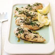 Use fresh herbs and lemon juice to give plain baked chicken fantastic flavor. This combination of flavors also works well with turkey cutlets or white fish fillets