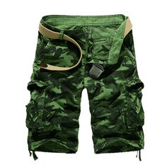 MENS MILITARY STYLE SOLID COLOR MULTI POCKETS MEN CARGO SHORTS FREE SHIPPING CN1324