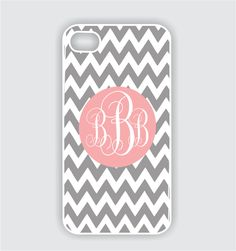 Rubber iPhone 4 Case Pink Monogram on  Grey Chevron - iPhone Case, iPhone 4s Case, Cases for iPhone 4, iPhone 4 Cover. $22.99, via Etsy.