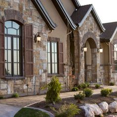 Salt Lake City Traditional Exterior Design Ideas, Pictures, Remodel and Decor Stucco Exterior, House Paint Exterior, Exterior House Colors, Exterior Design, Exterior Shutters, Stucco Colors, Cedar Shutters, Paint Colors, Utah Home Builders