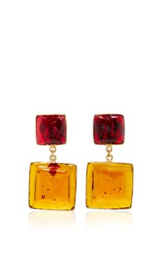 24 K Yellow Gold Plated Ruby And Amber Byzantine Earrings by LOULOU DE LA FALAISE for Preorder on Moda Operandi