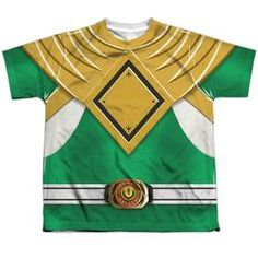 The Power Rangers - Green Ranger Sublimated Youth T-Shirt is officially licensed, made of 100% polyester and dye sublimated. Whether you're a Power Rangers Super fan or just looking to geek out at home, you'll love this sublimated youth t-shirt.   Be sure to keep in mind production and shipping time before ordering your Halloween costume!