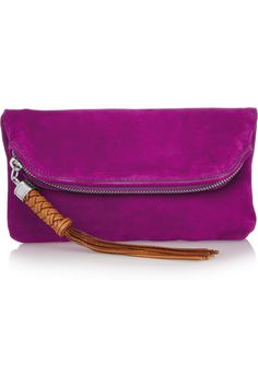 Ralph Lauren Collection | orchid color tasseled suede clutch | NET-A-PORTER.COM