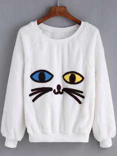 Women Cat Pattern White Sweatshirt