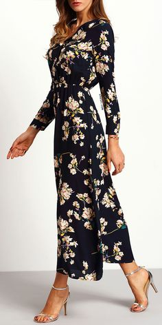 Navy Floral Maxi Dress. Elegant & comfortable! By shein.