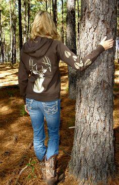 Womens Hunting Apparel-Chocolate Brown Deer Zip Hoddie