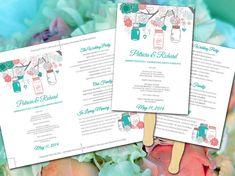 DIY Wedding Fan Program Template - Mason Jar Turquoise Teal Coral Gray Rustic Ceremony Program - Outdoor Wedding Program Favor by PaintTheDayDesigns, $10.00