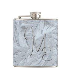 Textured Glass Monogrammed Flask