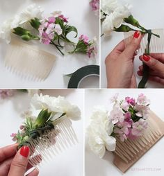 Flower crown & comb DIY tutorial (bridal shower activity)