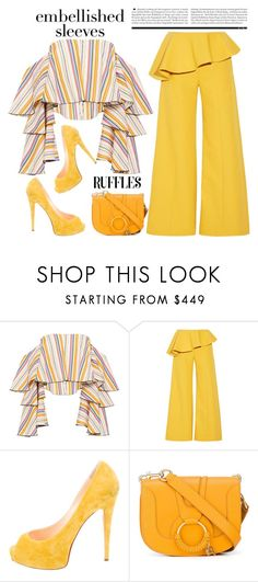 """Embellished Sleeves and Ruffles"" by conch-lady ❤ liked on Polyvore featuring Caroline Constas, Rosie Assoulin, Christian Louboutin, See by Chloé, MustardYellow, ruffles and embellishedsleeves"