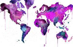 Watercolor Map Illustration - World Map No. 8