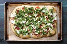 This gorgeous slab of heaven is a meal in itself. Creamy burrata and salty prosciutto pair perfectly alongside peppery arugula to make this one of our favorite combinations. Save Recipe Print Focaccia with Burrata, Prosciutto, and Arugula  Ingredients 1 recipe Basic Focaccia Loaf 8 ounces burrata cheese 6 ounces prosciutto, thinly sliced Olive oil … Prociutto Appetizers, Burrata Cheese, Muffin Bread, Samar, Focaccia, Calzone, Arugula, Prosciutto, Scones