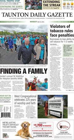 The front page of the Taunton Daily Gazette for Monday, May 23, 2016.