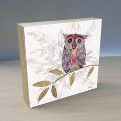 Artist Shanni Welsh's Bohemian Owl wood panel art print. Whimsical Owl décor. Owl and Feathers print. Owl home décor. Owl and Feather Indie art. Owl nursery décor.