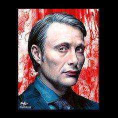 Print 8x10  Dr. Hannibal Lector  TV Show Dark Art by chuckhodi