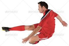 Football player in red kicking on white background ...  30s, Mid Adult, activity, attractive, caucasian, cut out, football, gear, handsome, isolated, kicking, male, man, player, playing, red, soccer, sport, sportsman, sportswear