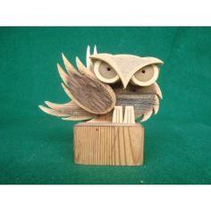 Gufo in legno da appoggio by Barbel Art - Oggettistica regalo in legno artigianale - Complementi d'arredo