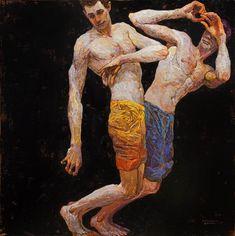 Paintings by Denis Sarazhin from Ukraine. Portraits, Portrait Art, Male Body Art, Ukrainian Art, Art Academy, Gay Art, Art Sketchbook, Figure Painting, Contemporary Paintings