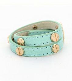 Designer Inspired Leather Stitched Wraparound Metal Studded Bracelet