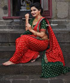 Marathi Nath, Marathi Saree, Kashta Saree, Sarees, Maharashtrian Saree, Marathi Wedding, Nauvari Saree, Indian Gowns Dresses, Saree Photoshoot