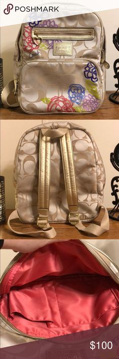 Coach Poppy Backpack EUC! Beautiful Poppy backpack. Big enough for school books. Two front pockets, 4 slide pockets inside, one zipper pocket inside. Adjustable shoulder straps. Some use wear on the bottom. Please ask any questions before buying! Coach Bags Backpacks
