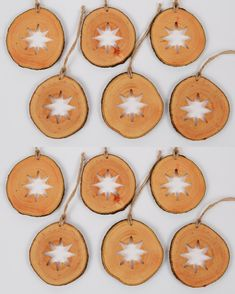 Wooden Christmas Ornaments, Christmas Decorations, Star Silhouette, Handmade Wooden, Handmade Gifts, Shops, Natural Christmas, Linseed Oil, Handmade Decorations