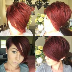 "#pixie360 #pixie #redhair [   ""long pixie cut, tucked behind the ear on one side. I"