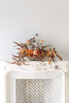 How to Dress Up Your Mantel for Thanksgiving with Flowers Decorating Bathroom Shelves, Decorating Small Spaces, San Francisco Florist, Thanksgiving Traditions, Thanksgiving Ideas, Stone Planters, Amber Interiors, Topaz Color, Home Decor Fabric