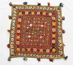 BEAUTIFUL INDIAN ETHNIC VINTAGE EMBROIDERED BANJARA WORK THROW WALL HANGING  #Handmade