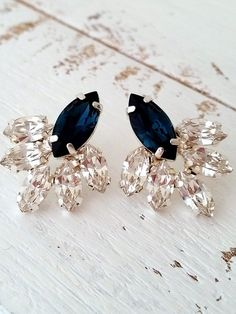 Navy blue crystal stud earrings Bridal by EldorTinaJewelry on Etsy | http://etsy.me/1JsH9St
