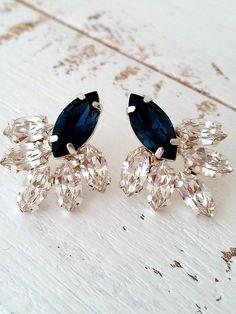 Navy blue crystal stud earrings Bridal by EldorTinaJewelry on Etsy | http://etsy.me/1JsH9St