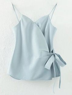 Solid Color Wrap Cami Top - LIGHT BLUE S