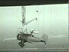 USS Macon & Sparrowhawks - video footage of biplanes landing on a US Navy airship in mid-air.